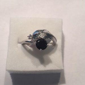 Stamped925(sterling silver)1 carat Black onyx SZ 9
